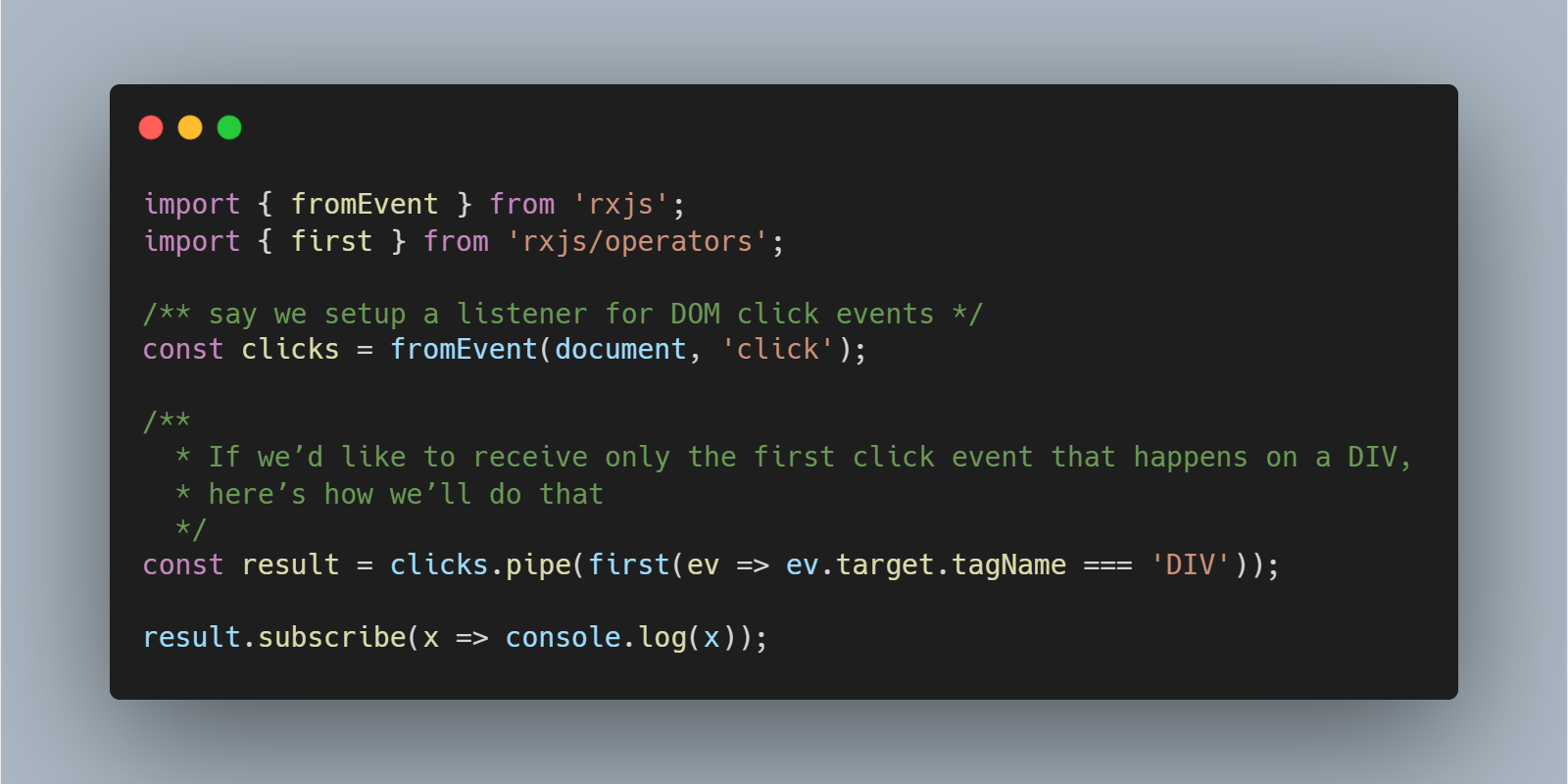 You can pass a callback function to RxJS's first() operator, I was not aware!